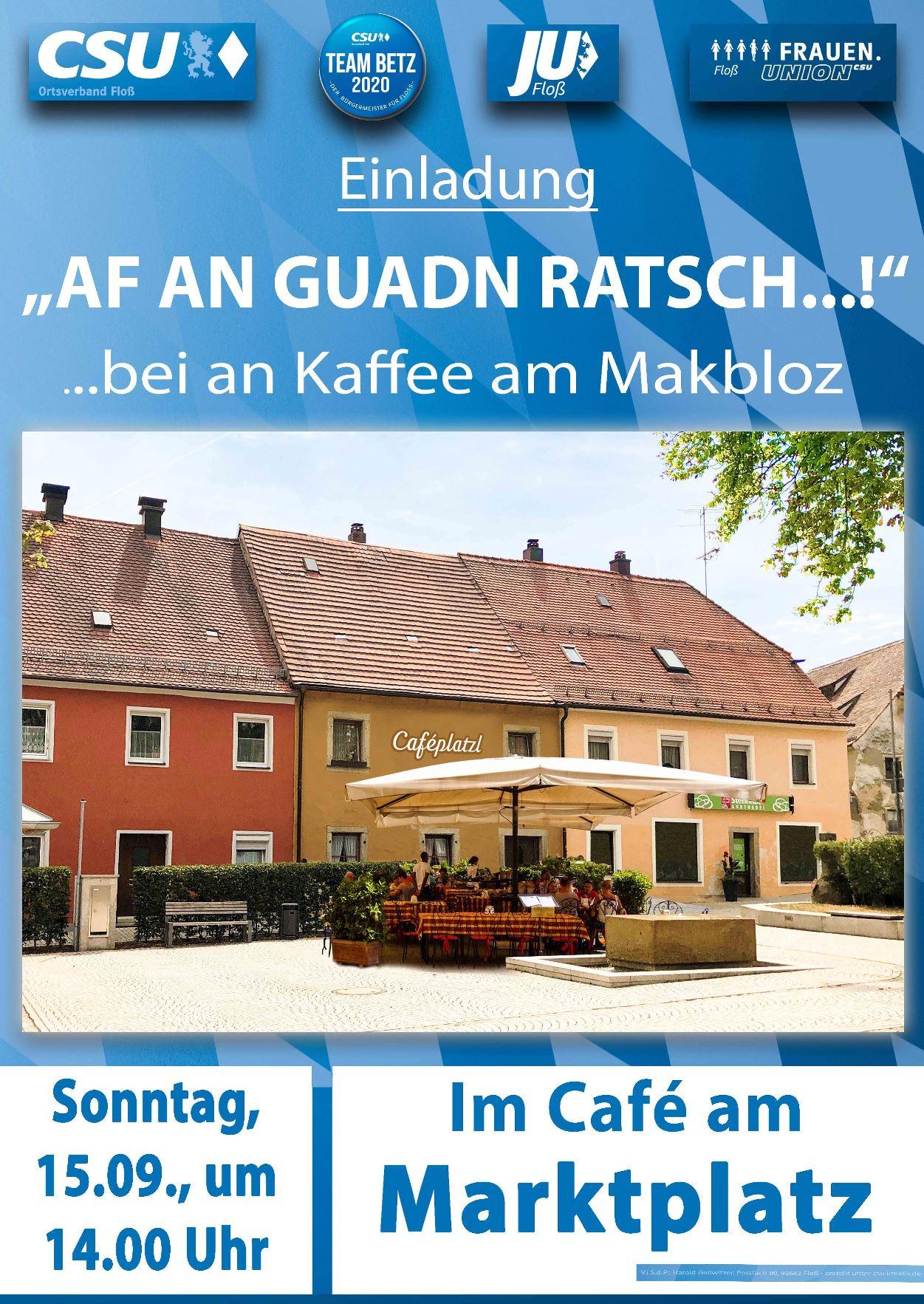 """Herzliche Einladung """"af an guadn Ratsch"""" ins """"Café am Makbloz""""  am nächsten Sonntag"""